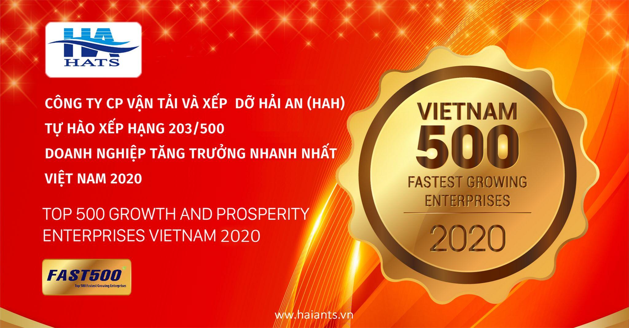 Công ty CP Vận tải và Xếp dỡ Hải An (HAH) thăng hạng vượt bậc trong top 500 Doanh nghiệp tăng trưởng nhanh nhất Việt Nam năm 2020 - FAST500